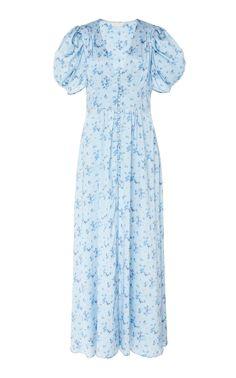 Stacy Silk Dress by LoveShackFancy Pretty Outfits, Chic Outfits, Fashion Outfits, Womens Fashion, Rose Print Dress, Casual Dresses, Summer Dresses, Online Dress Shopping, Vogue