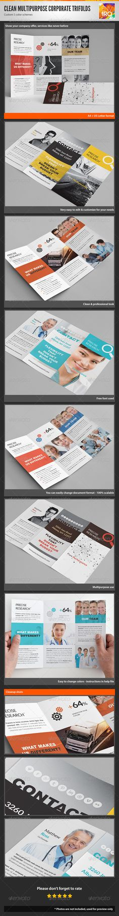 Clean Multipurpose Corporate Trifold Templates II GraphicRiver Minimal Trifolds Pack Contains 20 Files