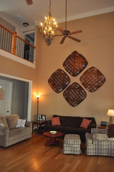 tobacco basket ~ idea ~ great solution for that soaring wall in the room with the cathedral ceiling