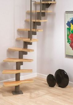 Dolle Graz Black or Grey Staircase Kit – Provides multiple options for installation. The Graz Modular Staircase is a great small space staircase for frequent use in a rather confined area. Modular Staircase, Spiral Staircase Kits, Small Staircase, Loft Staircase, Tiny House Stairs, Staircase Design, Cottage Staircase, Attic Spaces, Tiny Spaces