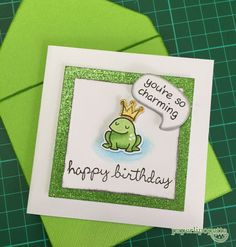 Paperlipopette's Birthday card, Lawn Fawn frog stamp.