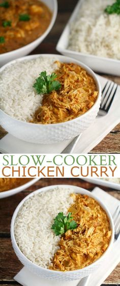 This Slow-Cooker Chicken Curry Recipe is super easy to throw together and full of great flavour. This is a super easy family dinner recipe!: