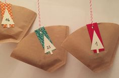 Advent calendar made of coffee filter bags - Mehr Brauchbares Handmade - Monster Birthday Parties, Christmas Bags, White Christmas, Woodland Party, Holiday Cocktails, Pin Collection, Paper Shopping Bag, Diy Gifts, Gifts For Women
