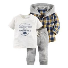 Carter's 3 pcs baby children kids Hooded Shirt Set sold by Carter's China official store Little Boy Outfits, Baby Boy Outfits, Kids Outfits, Carters Baby Boys, Baby Kids, Toddler Boys, Daddy And Son, Plaid Jacket, Shirt Jacket