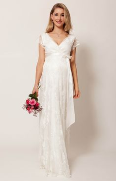 Our dreamy Eden long lace maternity gown is perfection itself for floating up the aisle or swishing down the red carpet at a very special occasion.