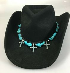 Turquoise stone hatband with 3 crosses or crucifixes. Cowboy Hat Bands, Felt Cowboy Hats, Western Cowboy Hats, Western Style Shirt, Rose Hat, Safari Hat, Hat Day, Leather Hats, Church Hats