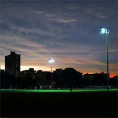 soccer field in the flood light and sunset times .. pretty cool contrast :) #Sunset #SoccerField #Chicago #Evening #Lovely #SweetNovember #Colors