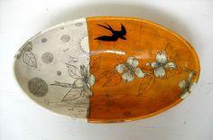 Diana Fayt, Large oval bowl Autumn Dogwood
