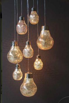 Hängelampe Big Little Pear - Filisky - Orientalisch - Silber - Zenza Beach Lighting, Chandelier Lighting, Let Your Light Shine, Light Up, Interior Lighting, Lighting Design, Oriental Restaurant, Light Bulb Crafts, Turkish Lamps
