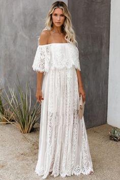 Lace Beach Wedding Dress, Lace Dress, Perfect Wedding Dress, Hippie Elegante, Party Dresses Online, White Maxi Dresses, White Lace Maxi Dress, Marie, Evening Dresses