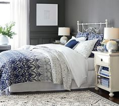 Keller Stitched Quilt & Shams | Pottery Barn beautiful navy and white stitched comforter