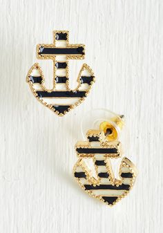 The Long and Port of It Earrings - White, Stripes, Beach/Resort, Nautical, Americana, Blue