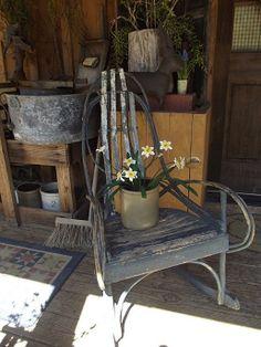 Old blue bent wood rocker Old Hickory Furniture, Bent Wood, Primitive Decor, Vintage Country, Old Wood, Cool Rooms, Some Pictures, Primitives, Decor Styles