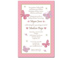 24 Printed Carter's Baby Girl Baby Shower Invitations - Butterfly & Flowers - Greeting Card Size - Pink and Purple. $26.99, via Etsy.