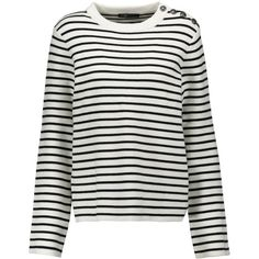 Maje Striped stretch knit sweater (€305) ❤ liked on Polyvore featuring tops, sweaters, stripe top, striped top, loose tops, winter white sweater and loose sweater