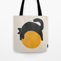 Cat with ball Tote Bag by budikwan | Society6