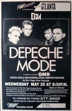 Depeche Mode at Six Flags over Georgia  May 25 1988 by Innerwallz, $15.00