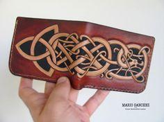 Custom Carved Bifold Wallet - 100% Full Grain Leather - Handmade