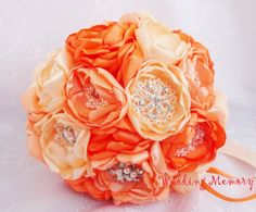 Hey, I found this really awesome Etsy listing at https://www.etsy.com/listing/197242973/orange-brooch-bouquet-peach-and-orange