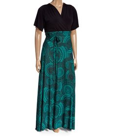 Look at this #zulilyfind! GLAM Black & Teal Medallion Surplice Maxi Dress - Plus by GLAM #zulilyfinds