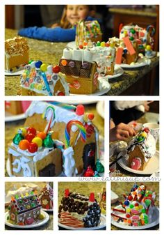 Gingerbread House with Graham's crackers--how to host a Gingerbread house party.