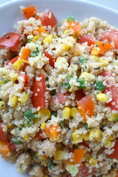 Quinoa vegetable salad with lemon-basil dressing. 1 cup uncooked quinoa 15 oz. can garbanzo beans, rinsed and drained 3 roma tomatoes 1 orange bell pepper 1 1/2 cups corn (I used frozen, thawed) 4 green onions  {For the dressing} 2 Tbsp. olive oil 2 Tbsp. fresh lemon juice 1 1/2 tsp. basil (or fresh if you have it)