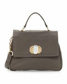 V1VQP Deux Lux Rumi Lady Pebbled Satchel Bag, Gray