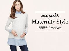 If leggings and flowing tops aren't your thing, try a preppy maternity style. Paired with your favorite flats, you'll feel great in these tailored looks.