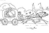Принцесса едет на бал - скачать и распечатать раскраску. Раскраска Золушка едет на бал в карете, кучер, лошади запряжены в карету, дворец, замок, раскраски золушка