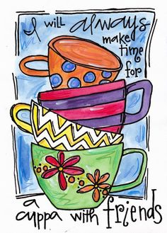 Items similar to Illustration Print Friends and Cups on Etsy Coffee Love, Coffee Art, Tea Art, Bible Art, Art Journal Inspiration, Whimsical Art, Doodle Art, Bunt, Watercolor Art