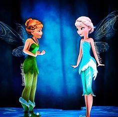 Here's an awesome picture I saw on Instagram of Anna and Elsa as fairies