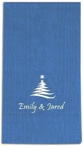 personalized moire paper guest hand towels with holiday stock art