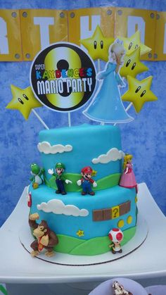 Super Mario birthday party cake! See more party ideas at CatchMyParty.com!