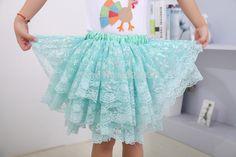 NEW Childern Girls Princess Skirt Kids Lace Ruffle Pettiskirt With Snow Sequined
