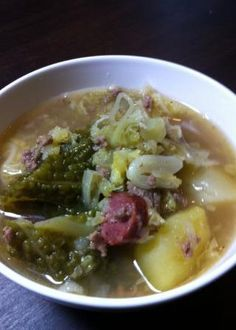 Cosy winter soup with savoy cabbage, potatoes and game sausage