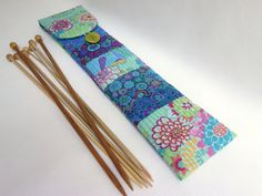 Blue Modern quilt straight knitting needle storage / Patchwork of Kaffe Fassett & Phillip Jacobs for Rowan floral printed cotton