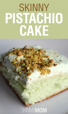 Very moist and delicious. Made May Skinny Pistachio Cake Recipe ~ Says: The pistachio flavor is so rich when paired with the light Cool Whip topping. This cake is perfect for cookouts, brunch, or holiday get-togethers. Just Desserts, Delicious Desserts, Dessert Recipes, Yummy Food, Dessert Ideas, Cookie Recipes, Pistacia Vera, Yummy Treats, Sweet Treats