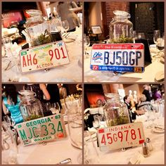 The Larz Anderson Auto Museum was a wonderful #weddingvenue for #firesidecatering - cool license plates as table numbers were a great #specialtouch for this #wedding catered by Fireside Catering.