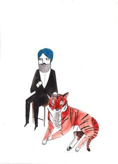 Indian Gent with Tiger by Dick Vincent #etsy #print