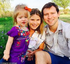 Growing family: Jenna, center, and husband Henry Hager, right, are expecting a little sister for daughter Mila, left, in August 2015