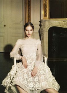 Sasha Luss wearing Valentino Haute Couture Spring/Summer 2013 for Vogue Italia photographed by Gian Paolo Barbieri