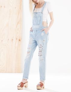 Full-length denim dungarees