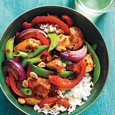 Sweet-Spicy Chicken and Vegetable Stir-Fry | This colorful chicken and veggie stir-fry features a sweet-spicy sauce and a topping of dry-roasted peanuts, which adds delicious crunch. | Cooking Light