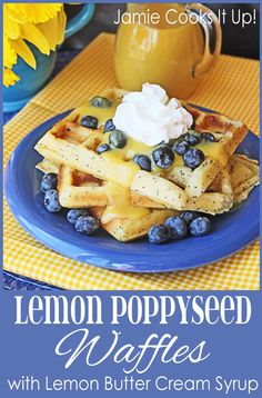Lemon Poppy Seed Waffles with Lemon Butter Syrup from Jamie Cooks It Up!
