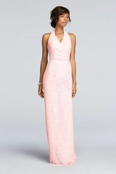 Simple and elegant, your maids will love this floor length all over lace dress!  Halter faux wrap pleated bodice and sleek floor length skirt provide an ultra-flattering look for your entire bridal party.  Also available in Extra Length sizes as Style 4XLF19040.  Fully lined. Imported. Back zipper.  To protect your dress, try our Non Woven Garment Bag.