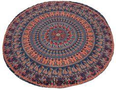 Elephant Mandala Beach Throw Hippie Yoga Mat Bohemian Round Cotton Boho Tapestry #Handmade #Traditional #BeachThrowYogaMatTableCoverWallHanging