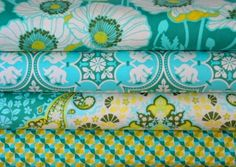 Joel Dewberry Fabric - 4 Fat Quarter Bundle Notting Hill in Teal - ships from Australia