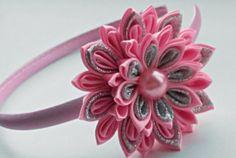 Pink Kanzashi Fabric Flower headband. Pink  flower crown headband. Kanzashi…