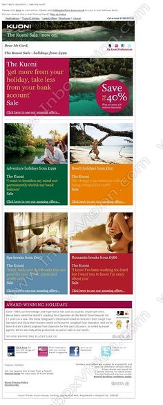 Company:    Kuoni Travel Ltd.   Subject:    The Kuoni Sale - holidays from GBP499             INBOXVISION is a global database and email gallery of 1.5 million B2C and B2B promotional emails and newsletter templates, providing email design ideas and email marketing intelligence www.inboxvision.com/blog  #EmailMarketing #DigitalMarketing #EmailDesign #EmailTemplate #InboxVision  #SocialMedia #EmailNewsletters