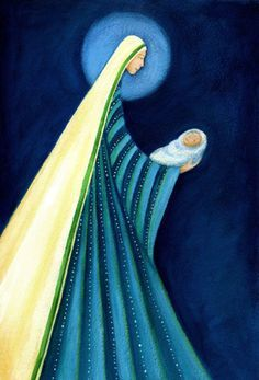 Ileana Oakley, Mary in Striped Garb with Jesus Mother Mary, Mother And Child, Christmas Nativity, Christmas Crafts, Mama Mary, Mary And Jesus, Church Banners, Holy Mary, Madonna And Child